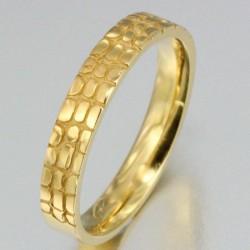 Alliance demi-effet croco femme en or