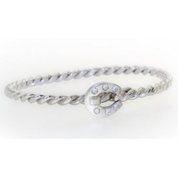 Bracelet ouvrant FER BRILLANTS en argent mat et brillant rhodié serti de 6 oxydes blancs.