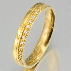 Alliance serti grain de 17 diamants homme en or