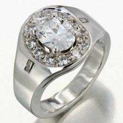 """Alliance """"Pénélope"""" en or sertie de 15 diamants et 1 oxyde"""