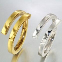 Alliance entrelacée bicolore homme or