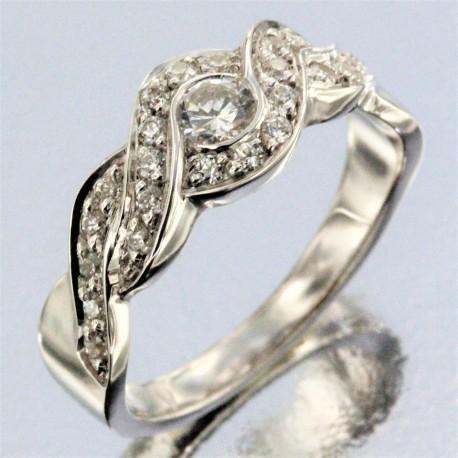 Alliance Sol Tresse empierrée ( diamants) Femme en or